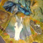 Платок батик «Ёжик в осеннем тумане». Шелковый платок ручной работы.
