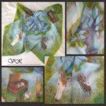 Батик платок «Ёжик в тумане». Шелковый платок ручной работы.