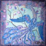 """Батик платок """"Синяя птица"""". Шелковый платок ручной работы."""