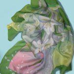 """Батик платок """"Зеленый букет"""". Шелковый платок ручной работы."""