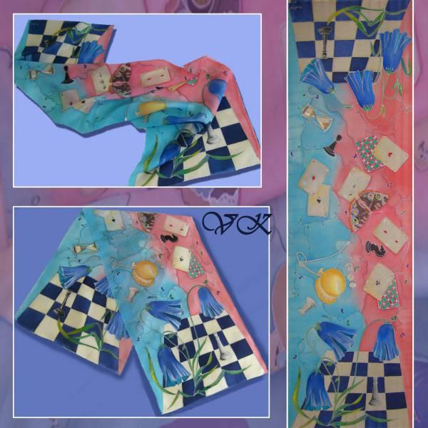 """Батик шарф """"Алиса в стране чудес"""" в розово-голубой цветовой гамме. Шелковый шарф ручной работы."""