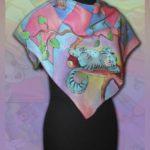 """Платок батик """"Алиса в стране чудес"""" в розовых тонах. Шелковый платок ручной работы."""