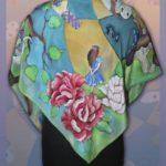 """Платок """"Алиса в стране чудес"""" в зелёных тонах. Шелковый платок ручной работы."""