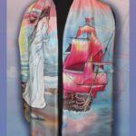Батик шарф «Алые паруса». Шелковый шарф ручной работы.