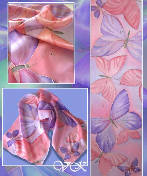Батик шарф «Воздушный». Шелковый шарф ручной работы.