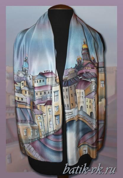 Батик шарф «Белые ночи над С-Петербургом». Шелковый шарф ручной работы.