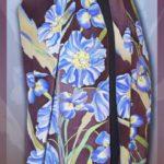 Батик палантин «Альпийские цветы». Шелковый палантин ручной работы.