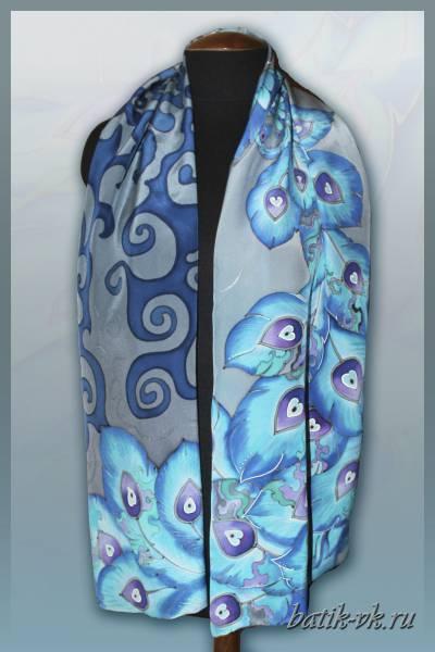 Батик шарф «Бирюзовая птица». Шелковый шарф ручной работы.