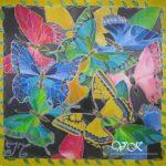Батик платок «Царство бабочек». Шелковый платок ручной работы.
