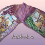 Батик шарф «Два окна». Шелковый шарф ручной работы.