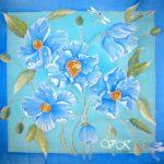 Батик платок «Гималайские маки». Шелковый платок ручной работы.