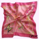 Батик платок «Орхидеи». Шелковый платок ручной работы.