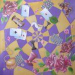 """Платок батик """"Алиса в стране чудес"""" в фиолетовых тонах. Шелковый платок ручной работы."""