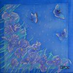 Батик платок «Синие ирисы». Шелковый платок ручной работы.