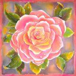 Батик платок «Роза». Шелковый платок ручной работы.