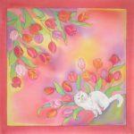 Батик платок «Мечты кота». Шелковый платок ручной работы.
