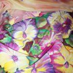 Батик шарф «Тайны анютиных глазок». Шелковый шарф ручной работы.