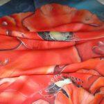 Батик платок «Вечерние маки». Шелковый платок ручной работы.