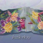 Батик шарф «Сон в летнюю ночь». Шелковый шарф ручной работы.