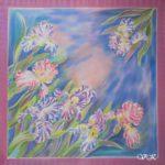 Батик платок «Ирисов лёгкие цветы…». Шелковый платок ручной работы.