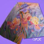 Батик шарф «Лунные ирисы». Шелковый шарф ручной работы.