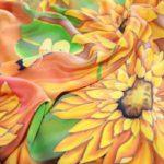 Батик платок «Полдень». Шелковый платок ручной работы.