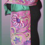 Батик шарф «Узоры». Шелковый шарф ручной работы.