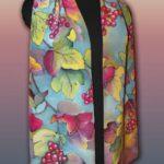 Батик шарф «Калина». Шелковый шарф ручной работы.