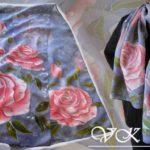 Батик шарф «Капли». Шелковый шарф ручной работы.