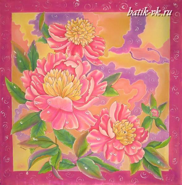 Батик платок «Карамель». Шелковый платок ручной работы.