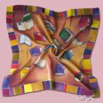 Батик платок «Под шелест книжных страниц». Шелковый платок ручной работы.