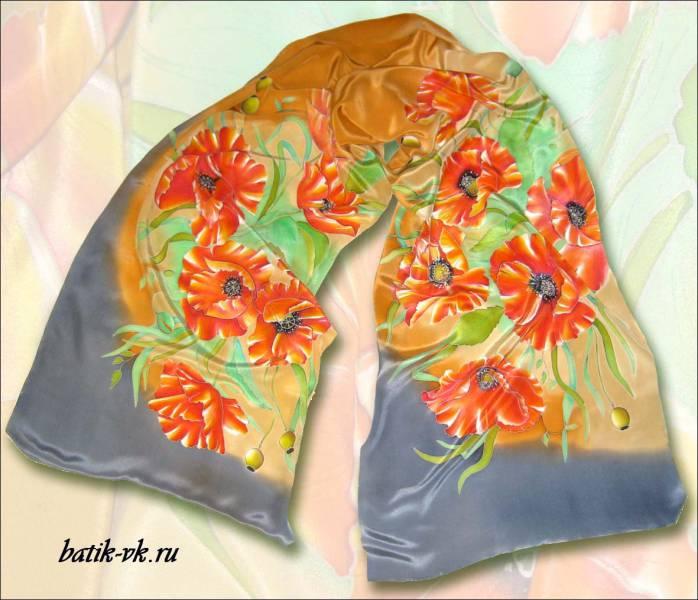 Батик шарф «Кофейные маки». Шелковый шарф ручной работы.