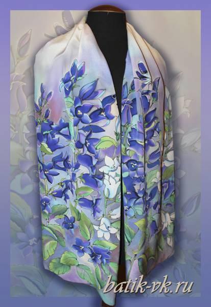 Батик шарф «Колокольчики». Шелковый шарф ручной работы.