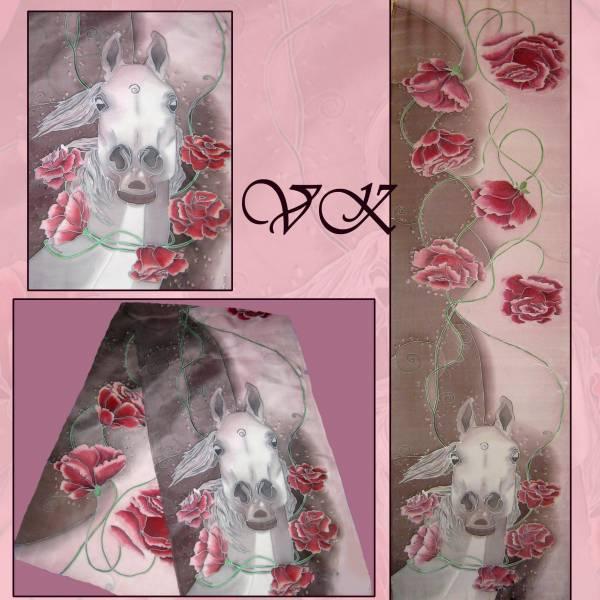 Батик шарф «Вдоль по ветру» коричнево-розовый. Шелковый шарф ручной работы.
