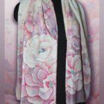 """""""Батик шарф «Снежные цветы»"""" заблокирована Батик шарф «Снежные цветы». Шелковый шарф ручной работы."""