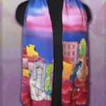 Батик шарф «Коты на крышах». Шелковый шарф ручной работы.