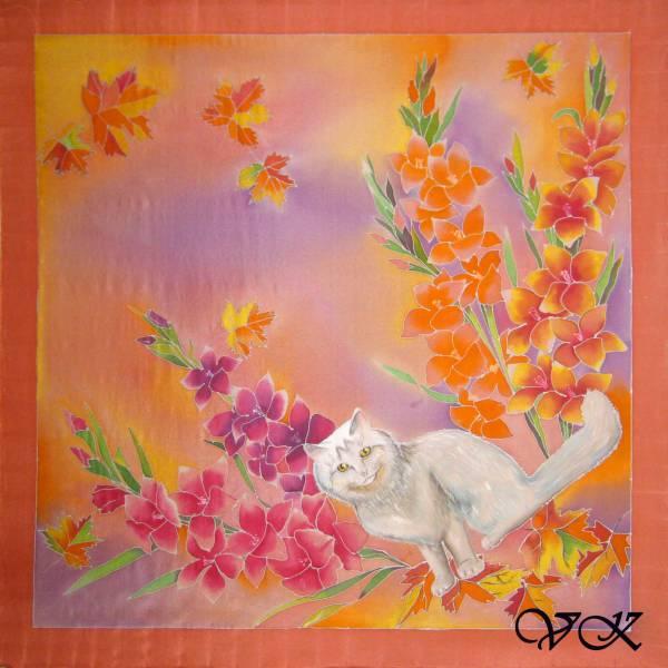 Батик платок «Осенний кот». Шелковый платок ручной работы.