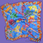 Батик платок «Мартовские коты». Шелковый платок ручной работы.