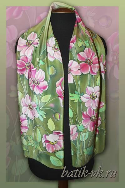 Батик шарф «Кусочек лета». Шелковый шарф ручной работы.