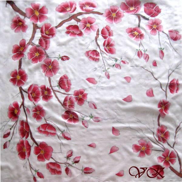 """Платок """"Лепестки сакуры"""". Шелковый платок ручной работы."""