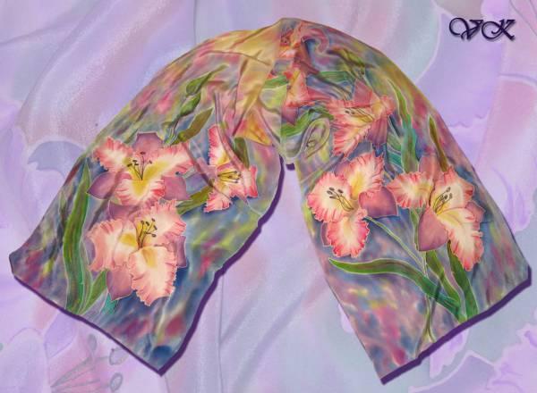 Батик шарф «Сиреневые сны». Шелковый шарф ручной работы.