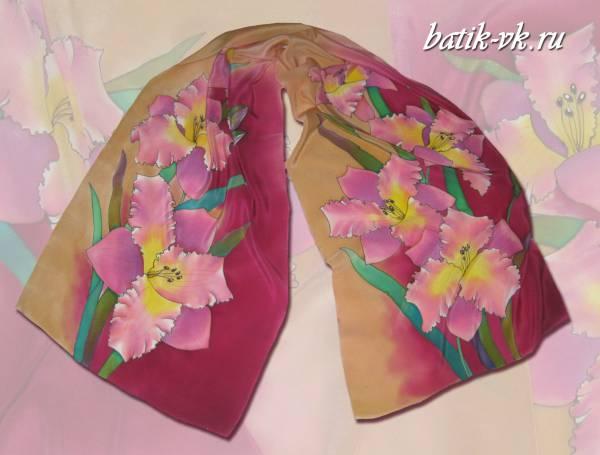 Батик шарф «Лилейник». Шелковый шарф ручной работы.