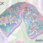 Батик шарф «Акварель». Шелковый шарф ручной работы.