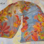 Батик шарф «Осень». Шелковый шарф ручной работы.