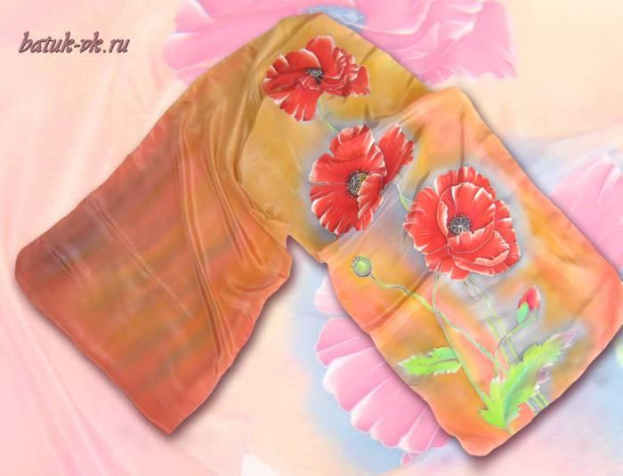 Батик шарф «Нежность». Шелковый шарф ручной работы.