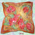 Батик платок «Маки на пшеничном поле». Шелковый платок ручной работы.