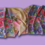 Батик шарф «Мальвы». Шелковый шарф ручной работы.