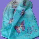 Батик шарф «Мотыльки». Шелковый шарф ручной работы.