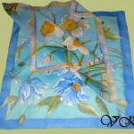 Батик платки «Гималайские маки» и «Нарциссы». Шелковые платки ручной работы.