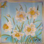 Батик платок «Нарциссы». Шелковый платок ручной работы.